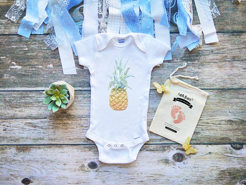 2ddd34eaa Pineapple Baby Onesies® Vacation Tropical Beach Clothing | Etsy