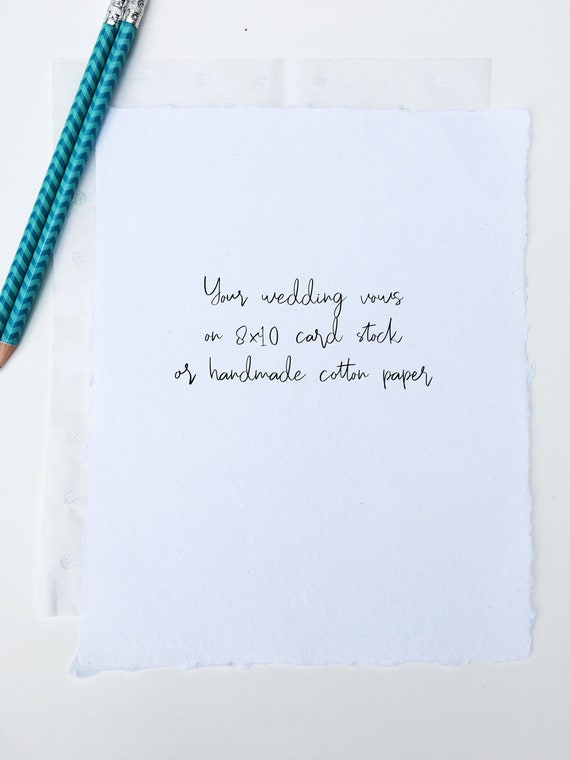 Wedding Vows Cotton Anniversary Gift For Him Or Her Wedding Vow Print 1 Year Anniversary Gift For Him Or Her