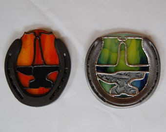 Anvil and Nippers Stained Glass Horseshoe // Blacksmith Suncatcher // Farrier Gift