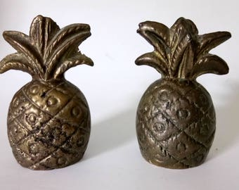 Vintage Brass Pineapples Set Of Two Brass Pineapples Paperweights Pineapple Figurine