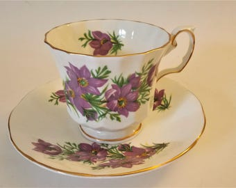 Vintage Elizabethan Cup Saucer Canadian Provincial Flowers