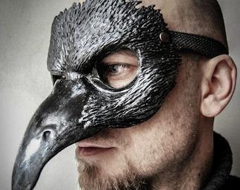 Raven mask, crow mask,  masquerade mask, costume mask, fantasy, forest creature, owl mask, bird, custom made,