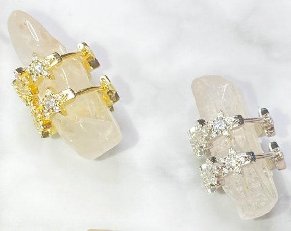 Stella Silver Gold Star Cuff Huggies Hoop Earrings