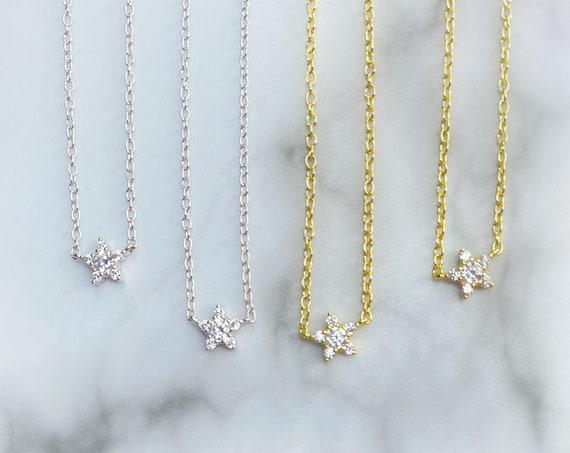 Estrellita Necklace Silver Gold Dainty Star Necklace