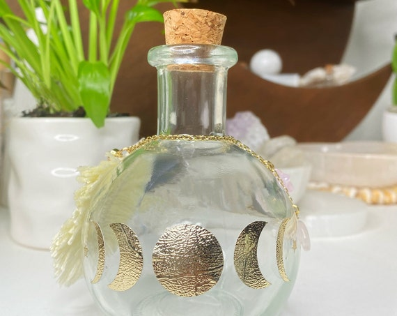 Moon Phase Water Empty Glass Jar with Macrame Feather Rose Quartz Moon Shaped Crystal Altar Decor