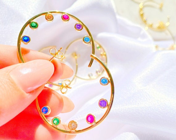 Aurora Multicolor Hoop Earrings Rainbow Colorful Jewelry