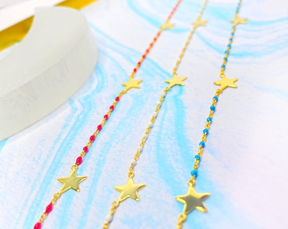 Nashira Dainty  Three Star Gold Plated Blue White or Red Celestial Adjustable Choker Necklace