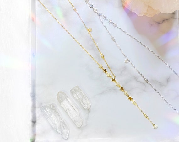 Cascading Star 925 Sterling Silver Dipped in Gold Necklaces