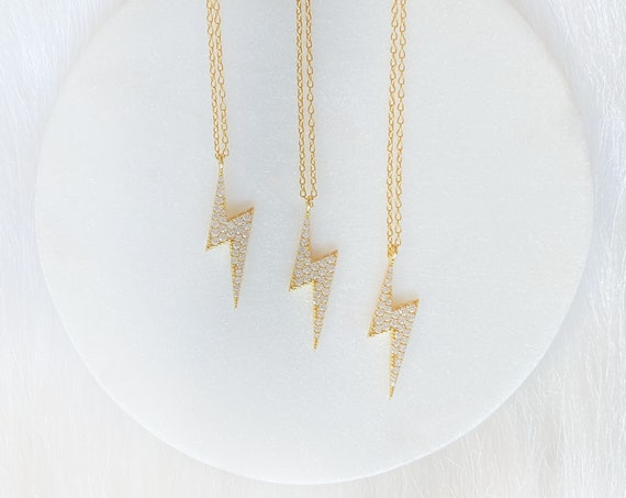 Electric Feel Lightning Bolt Silver Gold Pendant Necklace