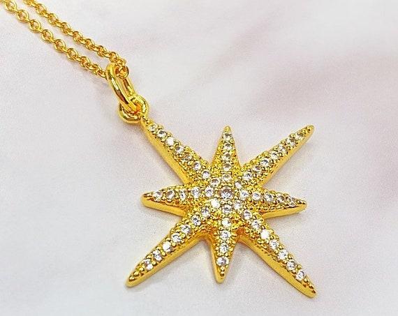 Stella North Star Celestial Constellation Gold Pendant Necklace