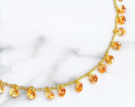 Sunset Dreaming Dainty Gold Choker Necklace With Crystal Copper Color Swarovski Crystal Astral Pink