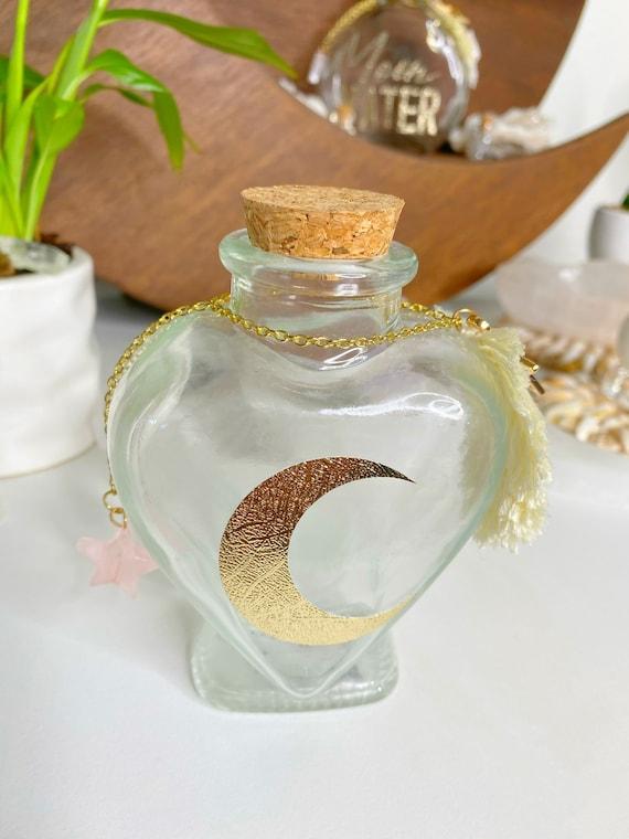 Moon Water Empty Glass Jar with Macrame Star Rose Quartz Crystal Altar Decor