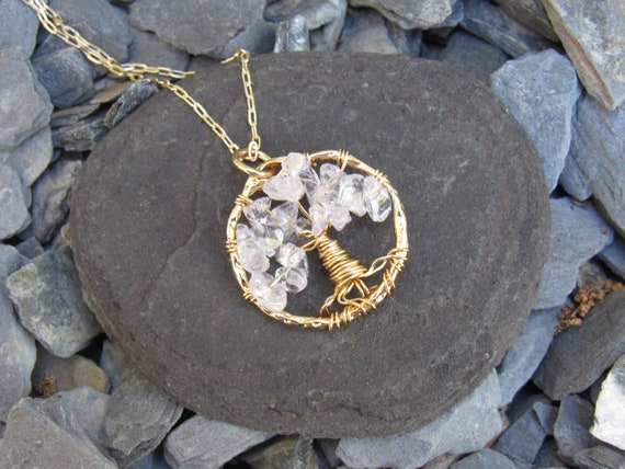 Tree Of Life | Gold And Clear | Crystal | Stones | Meaningful Jewelry | Wire Wrap | Gems | Arbor Vitae