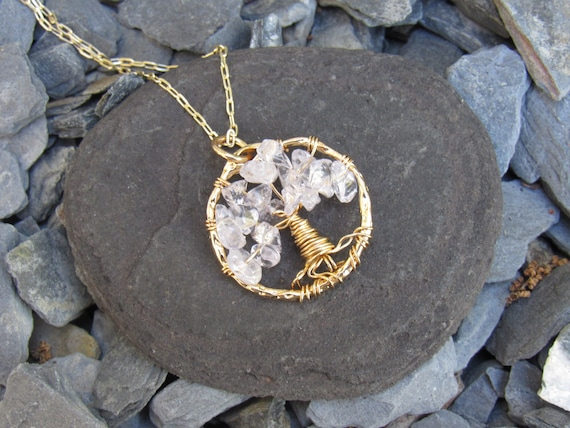 Tree Of Life | Gold And Clear | Crystal | Stones | Meaningful Jewelry | Wire Wrap | Stones