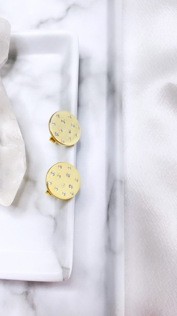 Daydream Round Stud Galaxy Dainty 925 Sterling Silver Dipped in Gold Circle Earrings