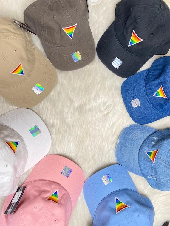 Rainbow Triangle Hat Colorful LGBT Pride Denim Black Dad Hat White Yellow