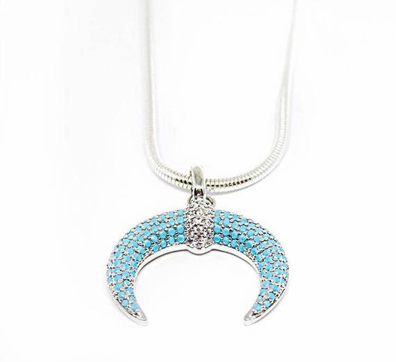Selene Necklace ,| Blue Double Horn | Silver And Blue Crescent Moon | 925 Sterling Silver