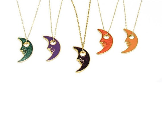 Vintage Moon Face | Phases | Orange | Green | Purple | Jewelry | Gold Necklace