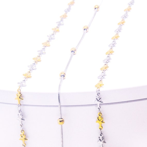 Silver And gold Satellite Chain Star Struck Necklace Delicate Stainless Steel