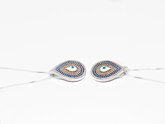 Eye See You Necklace Evil Eye Tear Drop | Protective Charm blue and gold 925 Sterling Silver