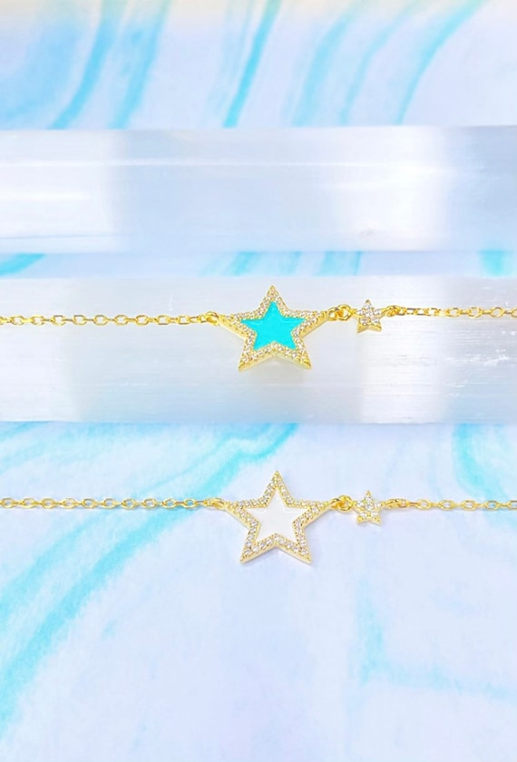 Star-Struck  Constellation Gold Vintage Adjustable Necklace Turquoise Blue White  Celestial Estrella Jewelry