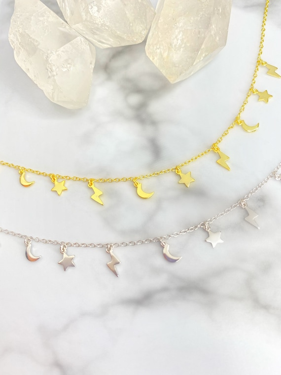 Stormy Night Moon Star Lightning Bolt Silver Gold Choker Necklace