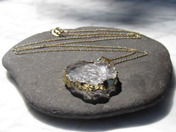 Clear Quartz Gold Dipped Pendant & Necklace | Stone Jewelry | Circle | Crystal | Rock | Master Healer | Crown Chakra
