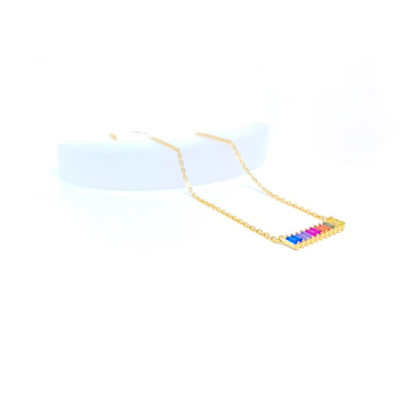 Iris Gold Rainbow Multicolor Necklace Colorful Jewelry