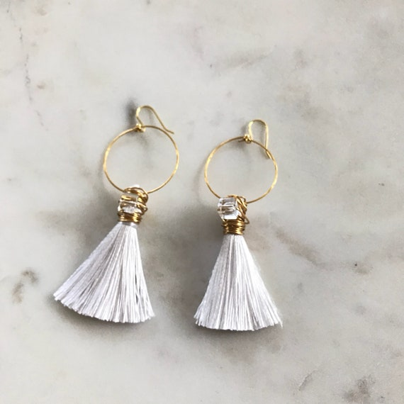 Avery Earrings | Gold Wire Wrapped Tassel | Clear Stone | Drop Earrings |