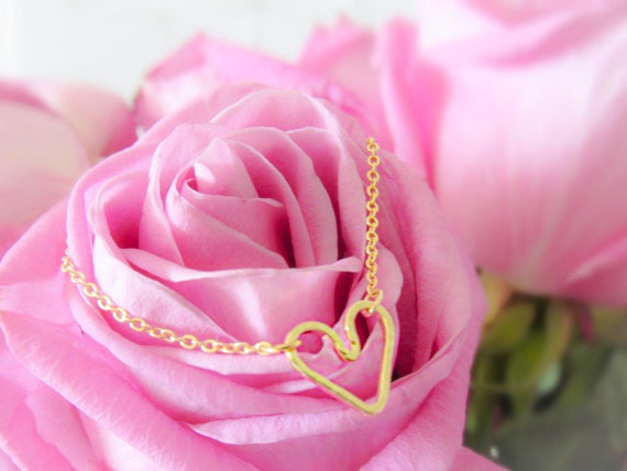 Gold Heart Charm Necklace And Bracelet  |  Matching Set | Dainty |  Gold filled