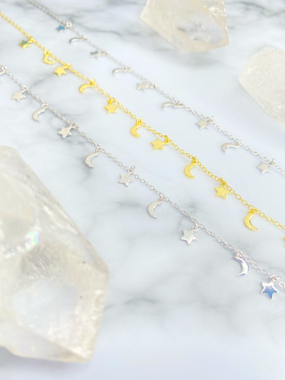 Night Sky Moon Star Silver Gold Choker Necklace
