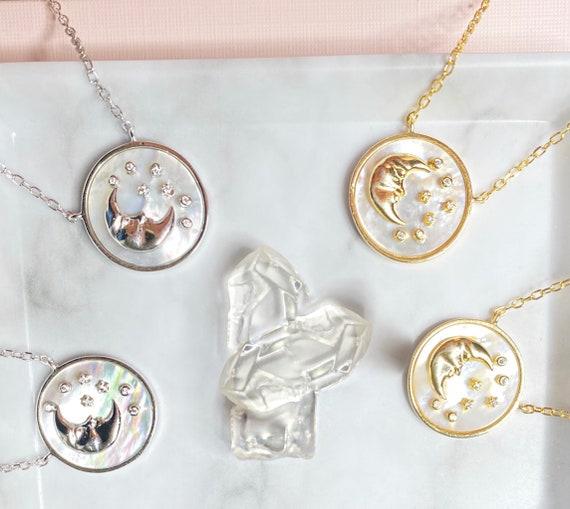Selene  | Moon | Stars | Constellation | Silver/Gold Vintage Necklace