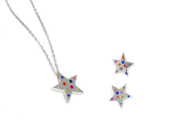 Twinkle Star Charm Earrings Silver/Gold Multicolor Pendant Necklace Set