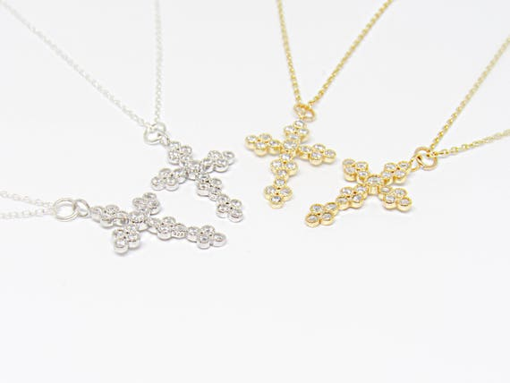 Cross Necklace | Cross &  Crystals | Crucifix | 925 Sterling Silver | Gold Plated Cross