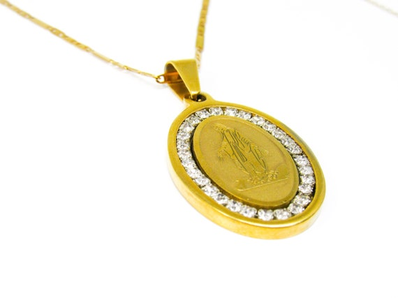 La Milagrosa Virgen Necklace | Gold Necklace | Stainless Steel | Religious Jewelry | Mother Mary