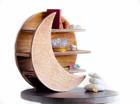 Moon Shelf Healing Crystals  Jewelry Holder Crescent Luna shelves Home Decor Display Altar Rustic Wood