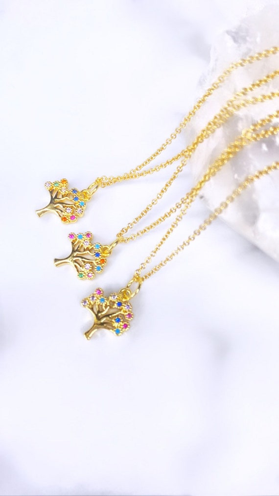 Arbor Vitae Minimal Tree Of Life Tiny Moon Dainty Gold Multicolor Charm Necklace