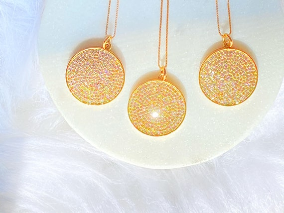 Glistening Galaxy Round Pendant Necklace Circle Crystals Sterling Silver dipped in gold