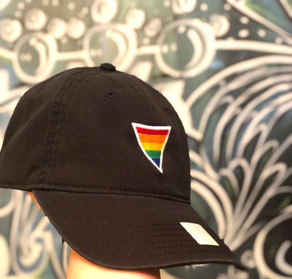 Rainbow Triangle Hat | Colorful | LGBT | Pride | Denim| Black  | Dad Hat | White | Yellow