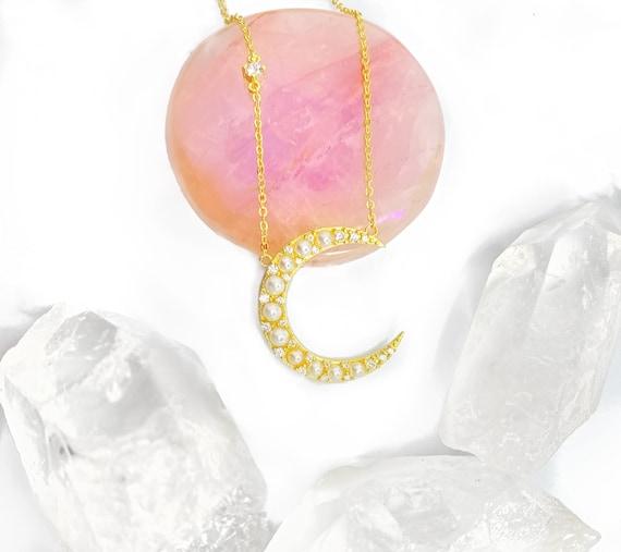 Perla Di Luna Pendant Gold Pearl Moon Charm Celestial Necklace