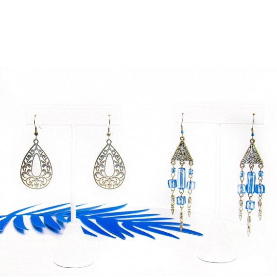 Island tribe earring set , 2 pairs , blue beads , arrows, silver triangle dangle