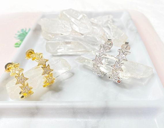 Bellatrix Star Small Silver / Gold Dainty Hoop Earrings