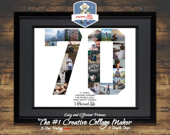 70th Birthday Gift Poster Decor Him Her Personalized Photo Collage