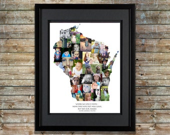 Wisconsin Photo Collage   Wisconsin Home   Wisconsin Art   Wisconsin Map   Wisconsin Wall Art   Wisconsin SVG   Custom Photo Collage