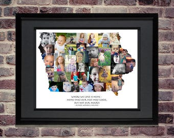 Iowa Photo Collage | State of Iowa | Iowa Wall Art | Iowa Map | Iowa Home | Iowa SVG