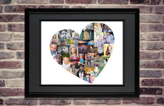 Heart Photo Collage Custom Heart Collage Heart Wall Art Etsy