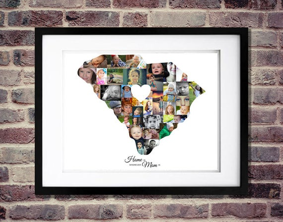 Gift For Her State Shaped Photo Collage Personalized Mom Etsy