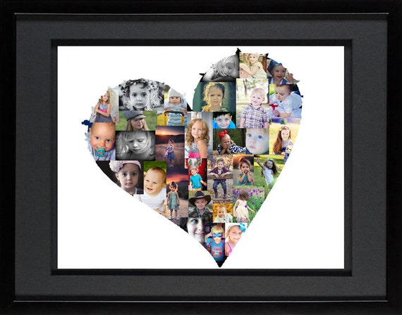 Heart Photo Collage Custom Photo Collage Heart Shaped Etsy