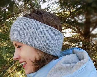 Gray Knit winter headband, gray ear warmers, women's knit headband, girl's knit headband, women's knit gray ear warmers girls gray headband