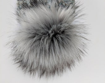 b4635d9d164cea Faux fur pom pom, luxury, 3 sizes, gray, medium, large, extra large, timber  wolf, hat topper, 5 inch, 6 inch, 7 inch, long pile, faux fur